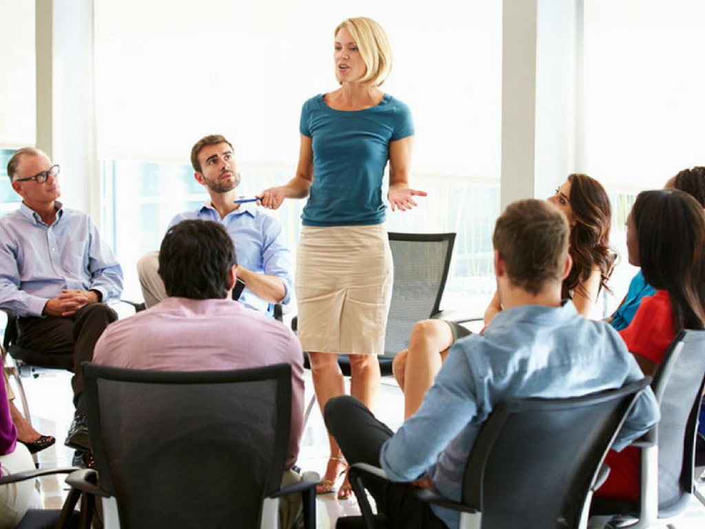 Woman leading a meeting